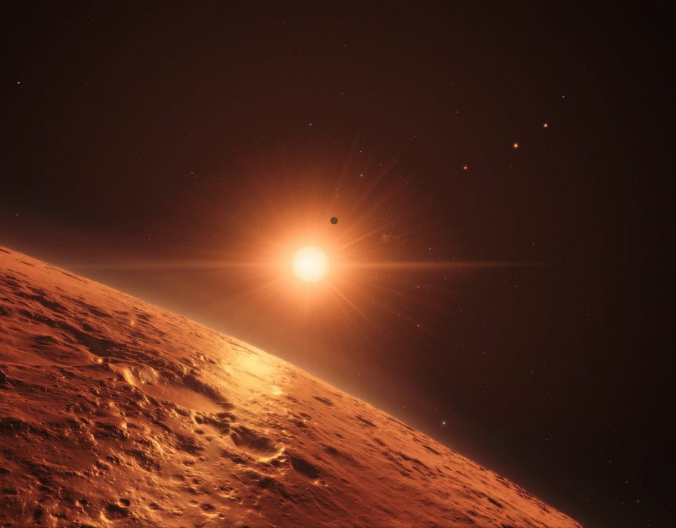 This artist's impression shows the view just above the surface of one of the middle planets in the TRAPPIST-1 system, with the glare of the host star illuminating the rocky surface. At least seven planets orbit this ultracool dwarf star 40 light-years from Earth and they are all roughly the same size as the Earth. They are at the right distances from their star for liquid water to exist on the surfaces of several of them. Thisartist's impression is based on the known physical parameters for the planets and stars seen, and uses a vast database of objects in the Universe.