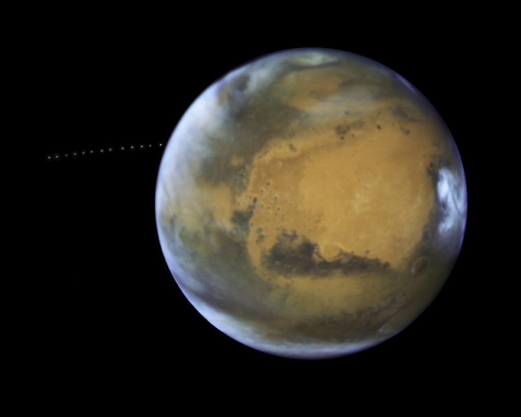 The Tiny Moon Phobos Is Photographed During Its Quick Trip Around Mars