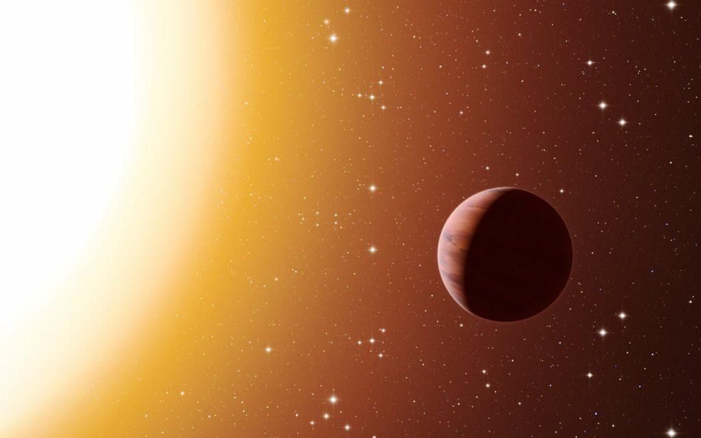 Artist's impression of a hot Jupiter exoplanet in the star clu